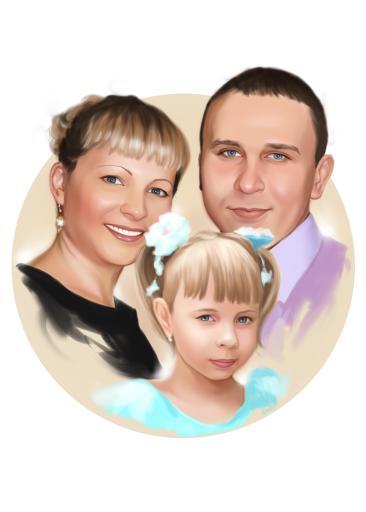 Семейный портрет по фото на холсте в Белгороде — правильный подарок!