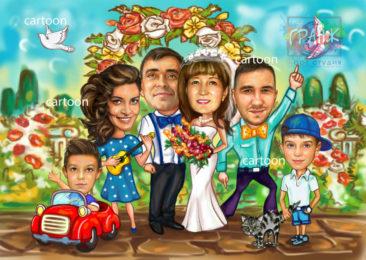 Шарж по фото на годовщину свадьбы на заказ в Белгороде…